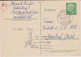 Bund Heuss Gzs P 31 PSt I Stempel Hochstahl ü Hollfeld 1957 - Cartoline - Usati