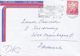"""Monaco Airmail Par Avion Slogan Flamme """"Congres De Police Judiciaire"""" MONTE CARLO 1989 Cover Brief To Denmark - Monaco"""