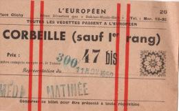 """Billet  Pour La Salle De Spectacle   """" L'EUROPEEN """" 11 Novembre 1950 - Artisti"""