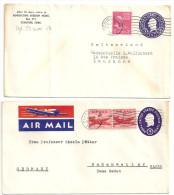 USA Ganzsache 2x  3 Cent George Washington Stationary. Air Mail. San Francisco In Die Schweiz / D Mit Zusatzfrankaturen - Ganzsachen