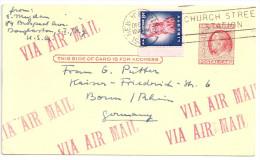 USA Ganzsache 2c 2 Cent Red B. Franklin. Stationary. Karte Nach Deutschland 1955 Mit Zusatzfrankatur Via Air Mail - 1941-60
