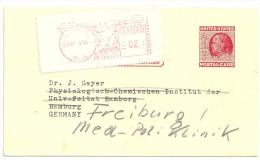 USA Ganzsache 2c 2 Cent Red B. Franklin. Stationary. Karte Nach Deutschland 1955 Mit Zusatzfrankatur - Postal Stationery