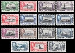 1938/50 Falkland Islands - 2 Scans Definitives 15v. Animals, Ships, Views King George Short Set To 2/6 SG 146/160 MLH - Falklandinseln