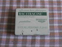 Boite Métal De Pastilles Bacitracine Diamant Affections Buco- Pharyngées - Publicité
