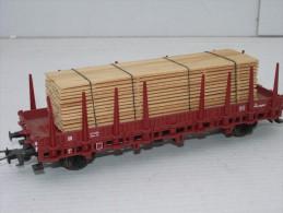 ROCO H0,  46306, Wagon Plat à Ranchers Avec Chargement De Bois - Wagons Marchandises