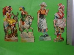 Lot De  Decoupis -personnage A Identifier-(vanda Avec Coiffe--chevaux-ane-ombrelle-- Etc... - Découpis