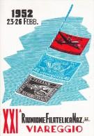 STORIA POSTALE-XXI RIUNIONE FILATELICA NAZIONALE VIAREGGIO 23-26 FEBBRAIO 1952 -VEDI-LOOK -ZIE RETRO- 2 SCAN - Eventi E Commemorazioni