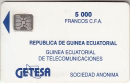 EQUATORIAL GUINEA - Getesa Logo(matt Surface), First Issue 5000 FCFA, Chip SC4, CN :32127, Used - Equatorial Guinea