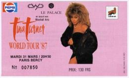 """TINA TURNER - """"World Tour 87"""" concert de Paris-Bercy le 31/03/1987"""