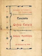 11580. Folleto Programa Concierto ORFEÓ CATALÁ. Barcelona 1904. Lonja - Programas