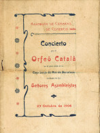 11580. Folleto Programa Concierto ORFEÓ CATALÁ. Barcelona 1904. Lonja - Programmes