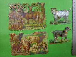 Lot De Decoupis Biche-vache-chevre-veau-chien A Identifier---. - Animals