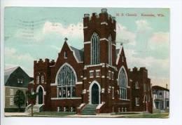 OE4/ 1909 M.E. Church Kenosha WI To Fisk, Flag Cancel, Local Publisher - Kenosha