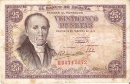BILLETE DE ESPAÑA DE 25 PTAS DEL 19/02/1946 SERIE H  CALIDAD RC (BANKNOTE) - [ 3] 1936-1975 : Regime Di Franco