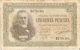 BILLETE DE ESPAÑA DE 50 PTAS DEL 9/01/1940 SERIE D CALIDAD  RC (BANKNOTE) - [ 3] 1936-1975 : Régence De Franco