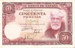 BILLETE DE ESPAÑA DE 50 PTAS DEL 31/12/1951 SIN SERIE  CALIDAD BC+  (BANKNOTE) - [ 3] 1936-1975 : Régence De Franco