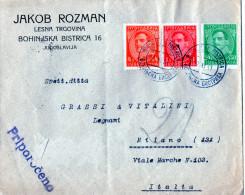 CARTOLINA POSTALE PUBBLICITARIA- LESNA TRGOVINA-JAKOB ROZMAN-SPEDITA A MILANO-10-11-1931 - 1931-1941 Kingdom Of Yugoslavia