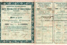 Exposition Internationale Des Arts Décoratifs Et Industriels , Paris 1925 - Bon à Lot De 50 Francs - Tourisme