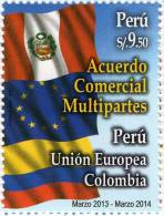 Lote P2014-17, Peru, 2014, Sello, Stamp, Acuerdo Comercial, Flag - Peru