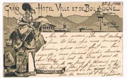 Cpa - PUB-- Rare - GRAND  HOTEL  VILLE  ET DE  BOLOGNE  - LUIGI GUERCIO-PROPIETAIRE--1900 -0115- - Bar, Alberghi & Ristoranti