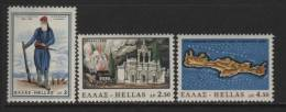 Greece, Scott # 852-4 MNH Set Soldier, Building, Map, 1966 - Unused Stamps