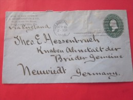 10 Avril 1896 Entiers Postaux Philadelphia USA United States Postage Via England Pour Neuwied Germany Allemagne - Entiers Postaux