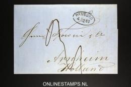 Deutschland: Complete Letter 1862 Hamburg To Arnheim Arnhem Holland - Deutschland