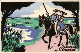 13. CPM. Bouches-du-Rhône. Camargue. Souvenir De Camargue (Carte Velour) (cheval) - France