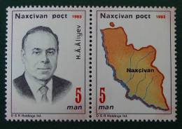 NAKHITCHEVAN - PRESIDENT ALIEV & CARTE 1993 - NEUFS ** - MI 1A/2A - PAIRE - Azerbaïjan