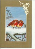 Carte Depliante Illustrée Neuve De A P B P  (Duo De Rouges-Gorges) (Peint A La Bouche Par Roger Van Den Abeele) - Peintures & Tableaux