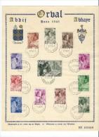 Belgique Collection Feuillet 1 Er Jour ORVAL ABBAYE 1.7.41 Numeroté 019619 - Abbayes & Monastères