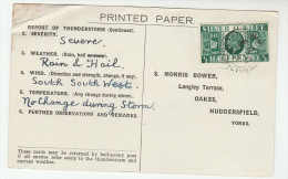 1935 GARSTON LIverpool CDS Pmk COVER Postcard METEOROLOGY Report WEATHER STATION Re THUNDERSTORM Gb Gv Jubilee Stamps - Brieven En Documenten