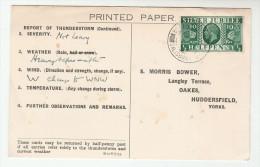 1935 BROAD CHALKE Salisbury CDS Pmk COVER Postcard METEOROLOGY Report WEATHER STATION Re STORM Gb Gv Stamps Thunderstorm - 1902-1951 (Kings)