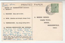 1934 MARKET HARBOROUGH CDS Pmk COVER Postcard METEOROLOGY Report BRAYBROOKE WEATHER STATION Gb Gv Stamp Thunderstorm - Climate & Meteorology