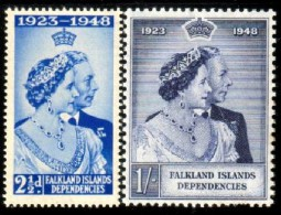 Silver Wedding 1948, King George VI & Queen Elizabeth, Falkland Island Stamp SC#1L11-1L12 Mint Set - Falkland