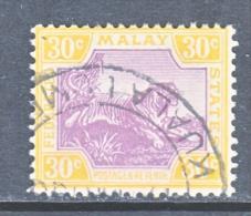 Malay 68  (o)  Wmk 4 Script CA  TIGER - Federated Malay States