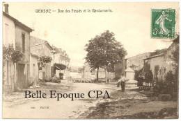 33 - GENSAC - Rue Des Fossés Et La Gendarmerie +++++ édit. Pavie ++++ 1908 ++++ RARE - Francia