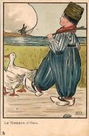 LE GARDEUR D'OIES RARISSIME COMIC SWISS BOY BY S.T CARTOONIST CARICATURISTE NON CIRCULEE EDIT. RAPHAEL TUCK & FILS GECKO - Stripverhalen