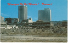 Managua Nicaragua, 1972 Earthquake Damage To City, Bank Of America & Central Bank Buildings, C1970s Vintage Postcard - Nicaragua