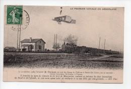 LE PREMIER VOYAGE EN AEROPLANE - LE 30 OCTOBRE 1908, H. FARMAN SE REND DU CAMP DE CHALONS A REIMS - (20) - Airmen, Fliers