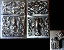 Très Beau Ancien Briquet Thaïlandais En Argent MassifGanesh / Old Silver Lighter From Tailand - Briquets