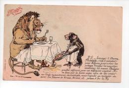 Carte Publicitaire MAGGI - Lyon Attablé Servi Par Un Singe   (20) - Advertising