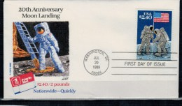 US USA - FDC - 20th Anniversary MOON LANDING - Ersttagsbelege (FDC)