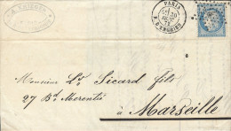 N° 60A S. LAC Paris / Marseille. Étoile Chiffrée 4 Ex 24 + Càd R. D'ENGHIEN. 30 Sept 1872. Ind.7 (TB) - Marcophilie (Lettres)