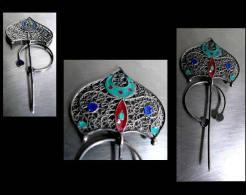 Ancienne Fibule Orientale émaillée / Oriental Enammelled Silver Fibulae - Art Africain
