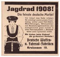 Original Werbung - 1907 - Waffen- Und Fahrradfabrik In Kreiensen B. Einbeck , Jagdrad , Fahrrad !!! - Fahrzeuge