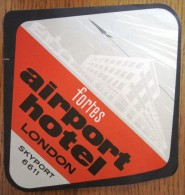 HOTEL MOTOR SKY PORT AIRPORT FORTES LONDON UK ENGLAND GREAT BRITAIN STICKER DECAL LUGGAGE LABEL ETIQUETTE AUFKLEBER - Hotel Labels