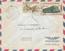 Central African Republic RCA 1965 Ndele Dactyloceras Butterfly Insect Train Railways Cover - Centraal-Afrikaanse Republiek