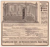 Original Werbung - 1907 - Spiel- Und Holzwaren , Erzgebirge , Eugen König In Komotau / Chomutov , Spielzeug !!! - Antikspielzeug