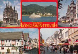 11779- KONIGSWINTER- CASTLE, WOODFRAME HOUSES, STREET, SHIP - Koenigswinter